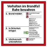 Verhalten im Brandfall Schild | 20 x 20 cm | Aushang für Brandmeldung, Notfall,...