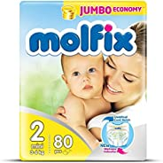 Molfix Anti Leakage Comfortable Mini Baby Diapers, 3-6 kg, 80 Count