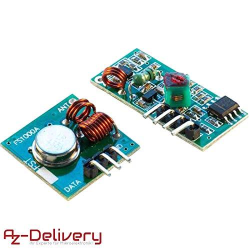 AZDelivery ⭐⭐⭐⭐⭐ 433 MHz Funk - Sende und Empfänger Modul Set für Raspberry  und Arduino Wireless Transmitter Receiver mit gratis eBook!