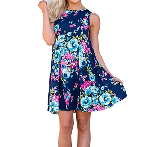 MIRRAY Damen Casual Ärmellos Print Spin Me Runde Floral Tank Shift Midikleid Floral Shift