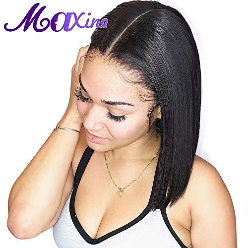 Maxine gerade Brasilianische, kurze Bob-Echthaarperücke mit Baby Haar, nicht geleimt, 100% naturbelassenes menschliches Haar, Bob, Lace-Front-Perücke für Damen