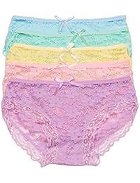Kalak Paquete de 5 Ropa Interior de Encaje de Bikini Transparente Invisible  para Mujer Bragas de ebf77447f5fc