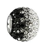 SilberDream Glitzer Bead Swarovski Kristalle schwarz ICE SilberDream Silber Beads für Bettelarmbänder GSB003