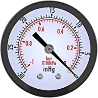 """Manómetro de vacío de Metal,De color negro,Manómetro de Presión Vacuometro,Medidor de presión de aire,0 ~ -30inHg / 0 ~ -1bar,Para agua, aceite, aire y más,Rosca BSPT de 1/4"""""""