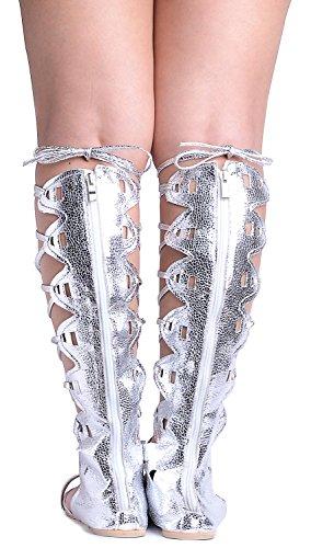 Odema Donne Roman Tagliare ginocchio Sandali Tacchi Strappy gladiatore Thong Flat Boots 5-argento