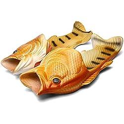 Fisch Hausschuhe Lustige Schuhe Slippers Unisex Anti-Rutsch Strand Besondere Sandalen Dusche Kinder Jungen Mädchen Damen Herren Gelb 40/41