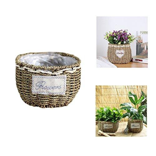Yosposs seagrass basket, in rattan naturale intrecciato a mano, creativo desktop ornamenti in vaso di fiori decorativi feste in giardino decorato matrimonio bianco daisy home accessories-upgrade e