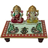 Marble Laxmi Ganesha Chowki Handmade Handicraft For Home Decor Gift Item
