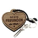 Lieblingsmensch aus Holz - Beste Freundin Schlüsselanhänger, 12 cm, Braun