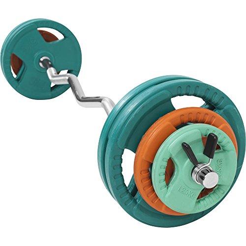 GORILLA SPORTS® SZ-Curlset 35 kg Gummi Gripper - SZ-Hantelstange, Gewichten und Federverschlüssen