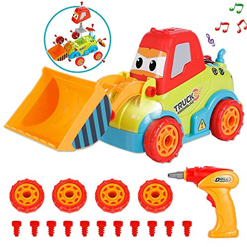 LUKAT Giocattoli Bambino Camion Kit Smontabile per Bambini Crea Il Tuo Kit di Giochi Bambino di Anni 3 4 5 6 7 8 +con La Musica
