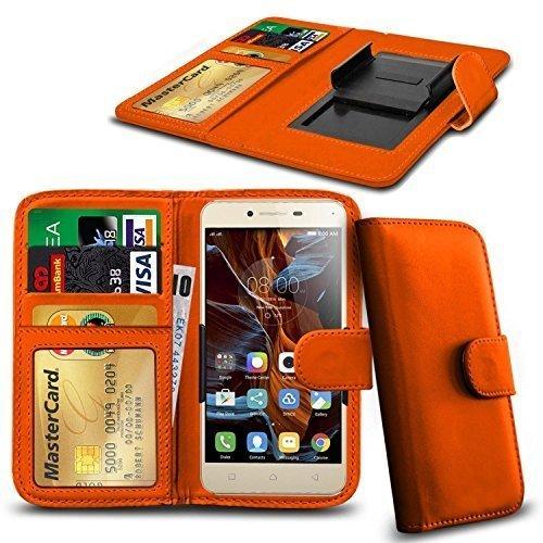 N4U ONLINE - Verschiedene Farben Clip Serie PU- Leder Brieftasche Buch Hülle für Gionee Gpad G5 - Orange