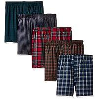 Hanes Ultimate Men's Premium 5-Pack Cotton Plush Waistband Boxers, Tartan Plaid, Medium