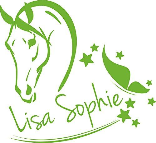 GRAZDesign 300048_50_WT063 Wandtattoo Name Wandaufkleber Tattoo für Mädchenzimmer Wunschname Pferdekopf Sterne (54x50cm // 063 lindgrün) - Mädchen Lindgrün