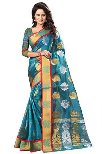 Spangel Fashion Tissue Jaquard Saree (Haka Kolam 3 Rama_1_Dark Green)