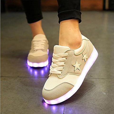 Damen / Mädchen LED leichte Schuhe Mode flache Sportschuhe sieben Farben ändern und elf Arten von blinkenden Modus , white , 39