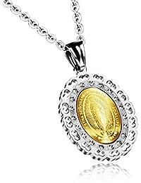 nitan joyas Nuestra Senora de Guadalupe–Colgante Collar de acero inoxidable Circonita Plata Oro Virgo Maria Retrato Religioso ovalado Día Hombre, Mujer con 50cm Cadena
