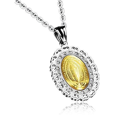 [] M.JVisun intarsiato con zircone intagliato Vergine Maria-Collana da uomo in acciaio INOX, colore: argento/dorato, 49,78 (19,6 cm - Diamond Cut Argento Collana Figaro