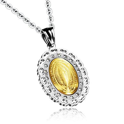 [M. JVisun] intarsio zircone intagliato Vergine Maria Ciondolo in acciaio inox catena collana, argento/oro, 19,6