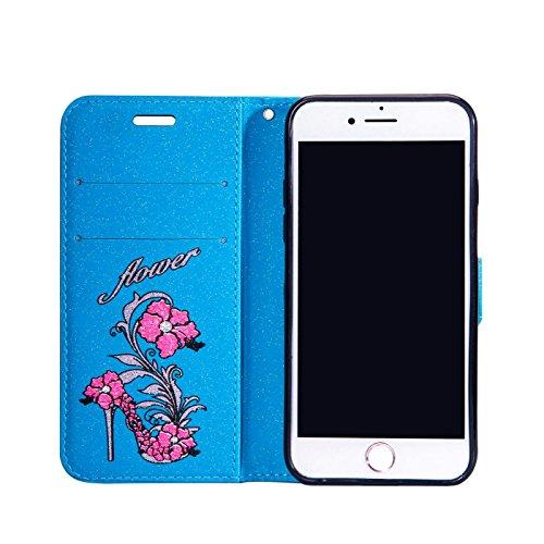 iPhone 8 Plus 5,5Zoll Bling Hülle,iPhone 7 Plus Flip Hülle,TOYYM Luxus Bling Glitzer 3D High Heel Muster Design Ultra Dünn PU Leder Stand Flip Wallet Magnet Brieftasche mit Kartenfach Innere Silikon S Blau