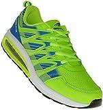 Neon Turnschuhe Sneaker Sportschuhe Luftpolster Unisex 002, Schuhgröße:45, Farbe:Grün/Blau