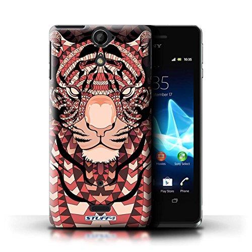 Kobalt® Imprimé Etui / Coque pour Sony Xperia V/LT25i / Loup-Couleur conception / Série Motif Animaux Aztec Tigre-Rouge