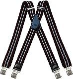 Tirantes Hombre X-Forma Elásticos Ancho 40 mm con clips extra fuerte totalmente adjustable todos...