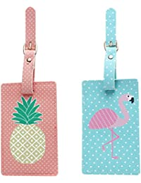 Tinksky 2 Pcs Voyage Bagages Sac Tag Ananas Flamingo ID Étiquettes Tag pour Bagages Valise Luau Hawaii Favors