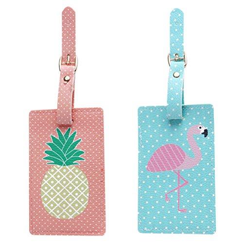 BESTOYARD 2 Stück Kofferanhänger Namensschild Adressanhänger Ananas Flamingo Koffer-ID Tags Etiketten