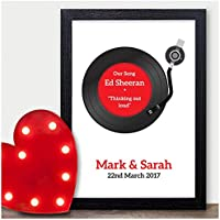 PERSONALISED Wedding First Dance Song Record Vinyl Print - Anniversary Gift - PERSONALISED for ANY Wedding Anniversary 1st, 2nd, 5th, 10th, 50th - Black or White Frames or 18mm Wooden Blocks