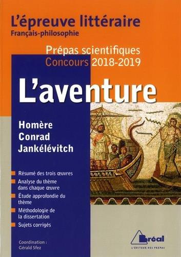 L'aventure - Épreuve littéraire 2018-2019 prépa scientifique