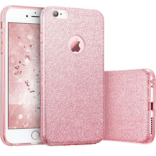 JINCHANGWU cover iPhone 7 glitter custodia glitter iPhone 7 (4.7) Copertura protettiva Glitter Soft Cover TPU + Glitter Paper + PC Inner Layer [Tre in uno] antiurto - rosa