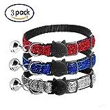 AIDIYA Reflektierendes Katzenhalsband mit Glocke, 3er Set, Robust, Nylon, Verschiedene Farben, Coole Halsbänder für Hauskatzen, kleine Hunde