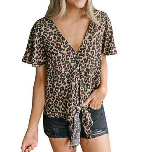 CAOQAO Damen Kurz Ärmel Leopard Druck Knopf V-Ausschnitt T-Shirt Lässig Oberteil ()