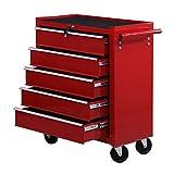 Homcom Servante/caisse à outils d'atelier 5 tiroirs tools chest chariot rouge 68 x 33 x 77cm neuf 04