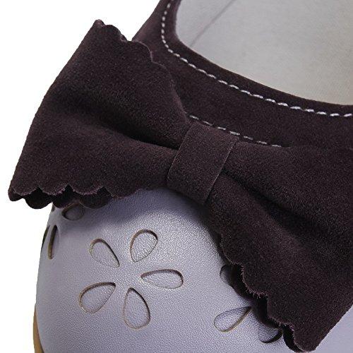 AgooLar Femme à Talon Correct Couleur Unie Boucle Matière Souple Rond Chaussures Légeres Violet