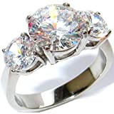 4.70ct Simulated Diamonds 3 Stone Anniversary Past - Present - Future Genuine Stainless Steel White Gold Ring. Never Tarnish. Stamped 316L. Outstanding Quality.