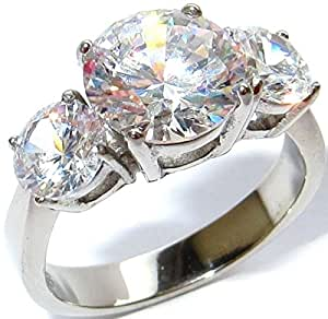 4.70ct Simulated Diamonds 3 Stone Anniversary Past - Present - Future Genuine Stainless Steel Ring. Never Tarnish. Stamped 316L. Outstanding Quality.