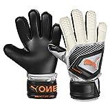 Puma One Protect 3 JR, Goalkeeper Gloves Unisex Adulto, Black-Silver White-Shocking Orange, 4