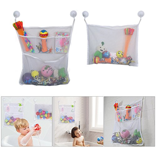lef organiseur filet de rangement bain lot de 2 sacs de rangement jouets en mailles fines avec. Black Bedroom Furniture Sets. Home Design Ideas