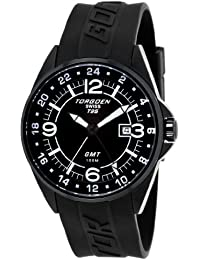 Torgoen T25301 - Reloj de caballero de cuarzo, correa de caucho color negro