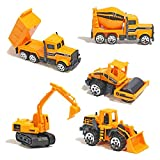Mini Legierung Bagger Lastwagen Autos 5er Set Fahrzeugset,Kleinkind Baustelle Spielzeug ab 3 Jahren (5 pcs Set)