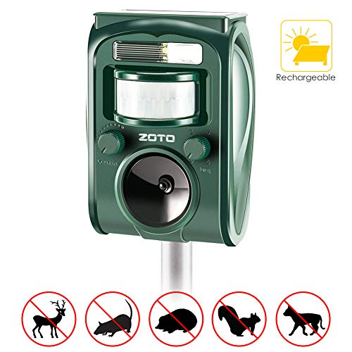 ZOTO Ultrasuoni Repellente Gatti, Solar Animale Repeller Impermeabile per Allontanare Animali, Topi,...