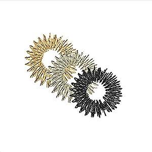 ROSENICE Akupressur Ring Massage Ring 3 Stück Akupressur Massage Ringe (Gold + Silber + Schwarz)