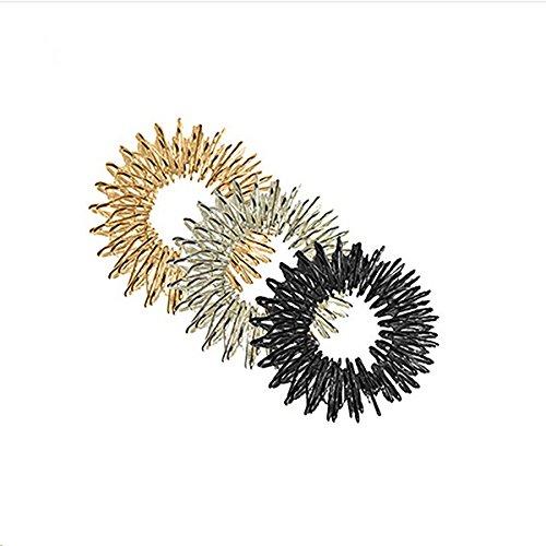 ROSENICE Masaje de Anillo, ROSENICE Masajeador Dedos para relajación 3pcs (oro+plata+negro)