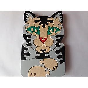 Holzpuzzle Katze handmade Wildkatze Tier Katze Katze massiv Buchenholz Spielzeug Geschenk für Kinder Spielzeug Hauskatze…