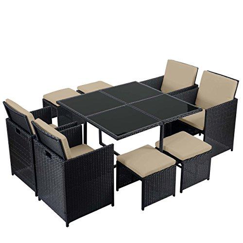 Mendler Poly-Rattan Garten-Garnitur Kreta, Lounge-Set Sitzgruppe ~ 4 Stühle schwarz, Kissen beige