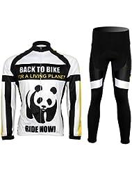 Maillot de cyclisme homme manches longues polaire + pantalons hiver ensemble