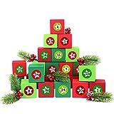 24 boîtes pour Calendrier de l'Avent - avec Autocollants numérotés - 24 boîtes colorées à remplir - Motif Rouge et Vert