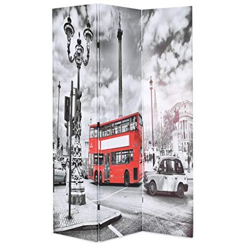 Xingshuoonline Biombo Divisor Plegable 120x180 cm Bus Londres Blanco y Negro Biombo con una Hermosa Foto Impresa de una Calle de Londres con un autobús Rojo en Ambos Lados
